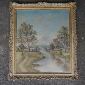 FRAMED RIVER SCENE Maps, Paintings and Posters