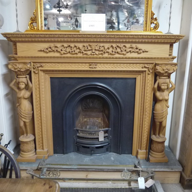 Ornate Carved Oak Surround Fire Surrounds and Overmantles