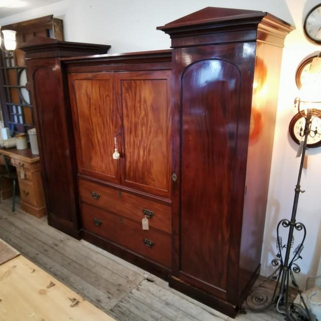 "19th C Mahogany ""Sentry Box"" Wardrobe Bedroom Furniture"