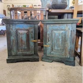 Pair Blue Bedside Cabinets Bedroom Furniture