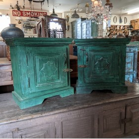 Pair Small Green Bedside Cabinets Bedroom Furniture