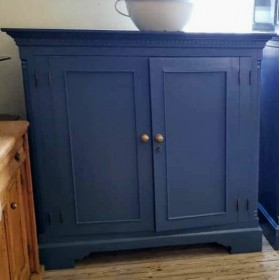 Pair Blue Painted Cupboards Cupboards and Larders