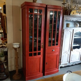 Pair Red Glazed Cabinets Cupboards and Larders