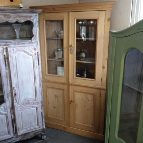 Tall Glazed Pine Corner Cabinet Cupboards and Larders