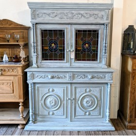 French Stained Glass Cabinet Cupboards and Larders
