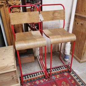Pair of Red Stools Stools, Benches & Pews