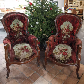 Pair 19th Century French Chairs Upholstered Chairs