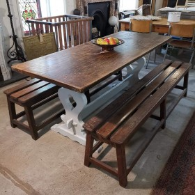 Oak Top Refectory Table Tables and Islands