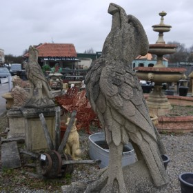 Pair Of Eagles On Plinths Statuary