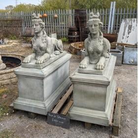 Pair of Sphinx Statuary