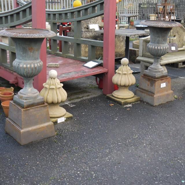 Pair Metal Urns Urns & Pots