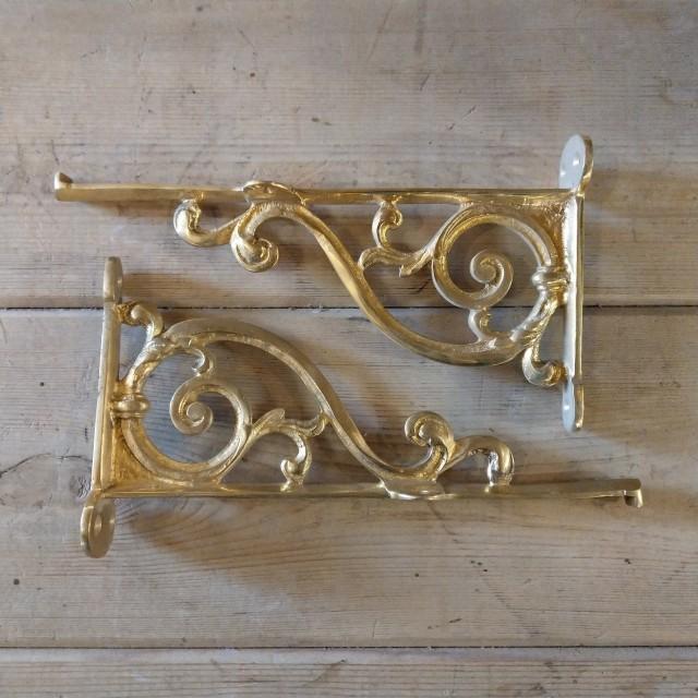 Pair Brass Vine Brackets Brackets