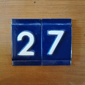 Blue & White Numerals Reclaimed Ironmongery