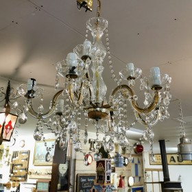 Pair 6 Arm Glass Chandeliers Chandeliers